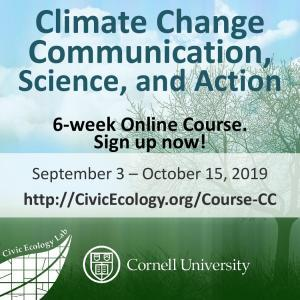 Climate Change Science, Communication, and Action: 6-week online course,  September 3 - October 15