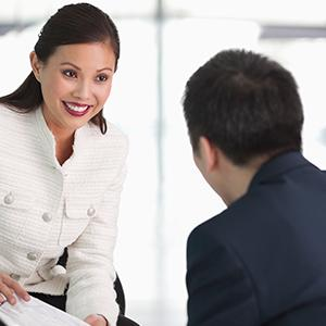 Two people having a conversation using their persuasive skills