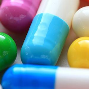 Close-up image of colorful pharmaceutical pills