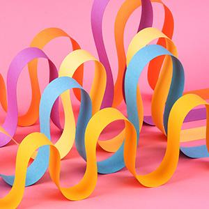 Waves of colorful ribbon