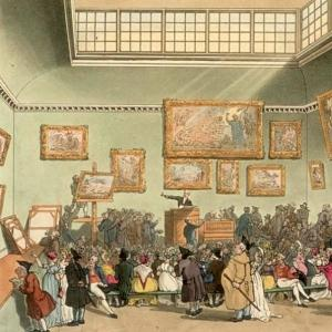 Auction Room, Christie's, circa 1808