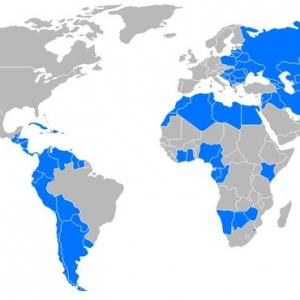 A world map with several countries highlighted in blue
