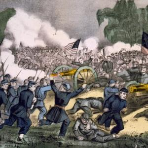 A lithograph of the Battle of Gettysburg